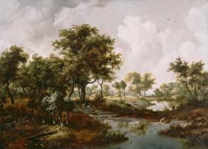 Картинки Живопись Деревья Hobbema Meindert, A Wooded Landscape