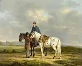 Фотография Картина Лошади Мужчины Anthony Oberman, Two Riders in a Landscape