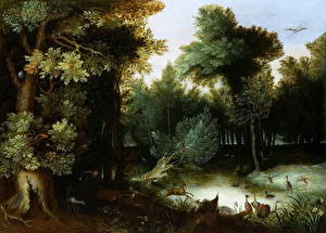 Фото Картина Деревья Jan Brueghel The Elder, A Stag Hunt at a Pool in a Forest