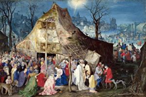 Обои Живопись Jan Brueghel the Elder, The Adoration of the Magi