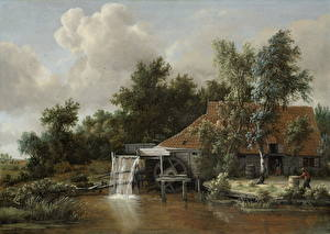 Картинка Картина Водяная мельница Meindert Hobbema, A Watermill