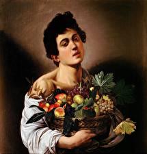 Картинки Картина Мужчины Корзина Caravaggio (Michelangelo Merisi), Boy with a Basket of Fruit