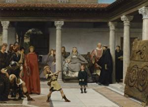 Обои Живопись Мужчины Мальчики Lawrence Alma-Tadema, The Education of the Children of Clovis