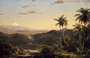 Обои Картина Горы Пейзаж Пальмы Frederic Edwin Church, Cotopaxi