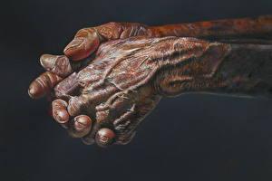 Обои Картина Рисованные Вблизи Руки Черный фон Старый