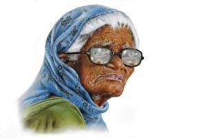 Картинка Картина Рисованные Пожилая женщина Очки Белый фон