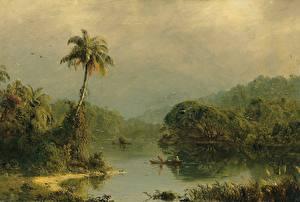 Картинка Картина Реки Frederic Edwin Church, Tropical Landscape