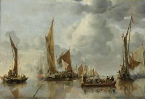 Фотографии Картина Корабли Лодки Парусные Jan van de Cappelle, The State Barge Saluted by the Home Fleet