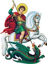 Картинки Религия Лошади Воины Драконы Копья Белый фон Saint George