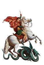 Картинки Религия Лошади Воители Драконы Копья Белый фон Saint George the Victorious