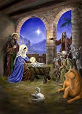 Обои Религия Мужчины Baby Jesus, The Nativity Scene