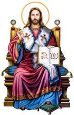 Фото Религия Мужчины Белый фон Jesus the King