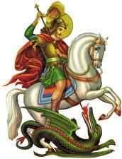 Фотография Религия Воины Драконы Лошади Копья Белый фон Saint George