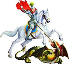 Фото Религия Воины Лошади Драконы Белый фон Копья St Gorge