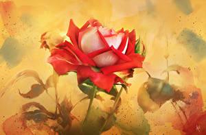 Картинки Розы Рисованные Картина Цветы