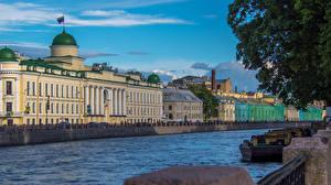 Картинка Россия Санкт-Петербург Реки Дома Fontanka river Города