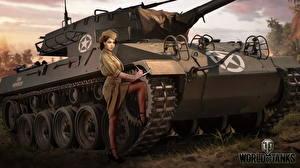 Картинка САУ WOT Американский Nikita Bolyakov M18 Hellcat компьютерная игра Девушки Армия