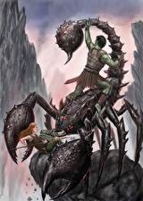 Картинки Скорпионы Воин Сражения Фэнтези