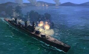 Фото Корабли Рисованные Стрельба Российские Cruiser Molotov Армия