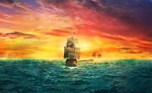 Картинки Корабли Парусные Море Фантастика