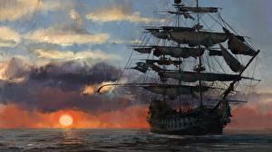 Фото Корабли Парусные Рассветы и закаты Пираты Skull and Bones Игры