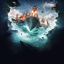 Фотографии Корабли World Of Warship Стрельба