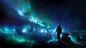 Картинка Небоскребы Мотоциклист Северное сияние Фантастика Города