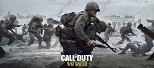Фото Солдаты Побережье Военная каска Винтовки Call of Duty: WWII Война Игры