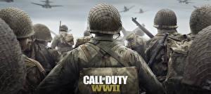 Фотографии Солдаты Военная каска Call of Duty: WWII Вид Игры