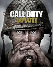 Картинки Солдаты Военная каска Пальцы Call of Duty: WWII Смотрит