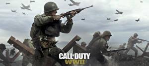 Картинки Солдаты Винтовки Военная каска Call of Duty: WWII Игры