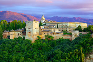 Картинки Испания Здания Деревья Alhambra Granada