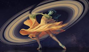 Фотографии Сверхъестественные существа Сатурн Платья Фэнтези Девушки