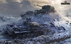 Картинка Танки Т-34 WOT Русские Немецкий KV-1, PzKpfw III Игры