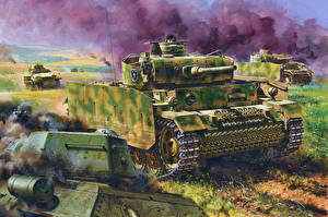 Картинки Танки Рисованные Немецкий Pz.Kpfw.III Ausf.M w/Schurzen