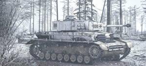 Фото Танки Рисованные Черно белое Немецкий PzKpfw IV