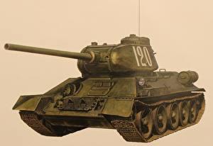 Фотографии Танки Рисованные Т-34 Российские Цветной фон Т-34-85 Армия