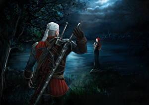 Картинка Ведьмак 3: Дикая Охота Геральт из Ривии Воины Мечи Ночные