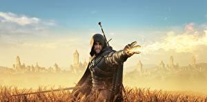 Фотографии The Witcher 3: Wild Hunt Воители Магия Капюшон Игры