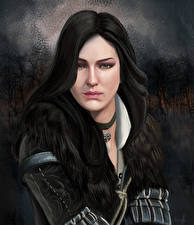 Фотографии The Witcher 3: Wild Hunt Брюнетка Взгляд Yennefer of Vengerberg Девушки