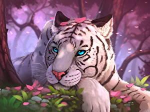 Фотографии Тигры Рисованные Голова Белый Смотрит Животные