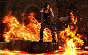 Фотографии Tomb Raider Огонь Лава Лара Крофт Игры Девушки 3D_Графика