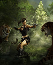 Фотография Tomb Raider Underworld Пистолеты Тигры Лара Крофт Девушки