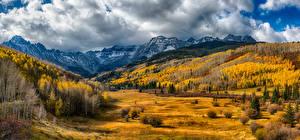 Фотография США Горы Леса Луга Осенние Пейзаж Облака San Miguel Colorado Природа