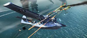 Картинки War Thunder Самолеты Гидросамолёт компьютерная игра 3D_Графика
