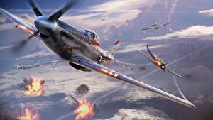 Картинка War Thunder Самолеты Истребители Американские Игры