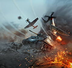 Картинки War Thunder Танки Самолеты M4 Шерман Американские Игры