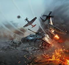 Картинки War Thunder Танки Самолеты M4 Шерман Американская