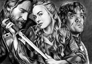 Картинка Воины Игра престолов (телесериал) Питер Динклэйдж Черно белое Втроем Queen Cercei, Tyrion, Jamie Lannister Знаменитости