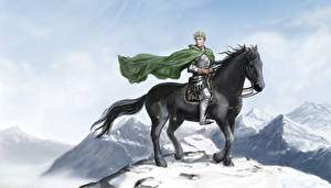 Обои Воины Лошади Мужчины Плащ Снег